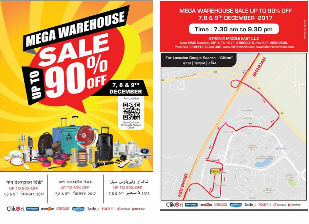 Clickon Mega Warehouse Sale 2017 on 7th, 8th & 9th December