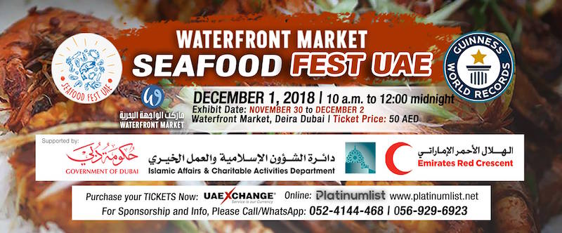 Seafood Fest UAE 2018 at waterfront market Dubai on Nov 30 to Dec 2