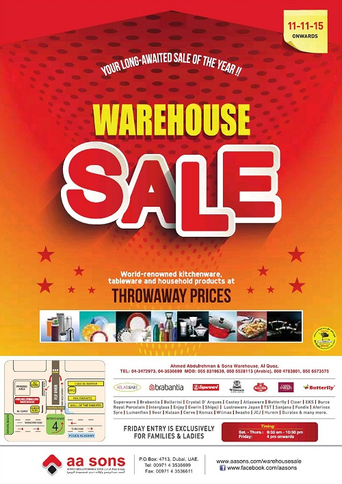 A A Sons Warehouse Sale in Dubai 2015 – Events in Dubai, UAE