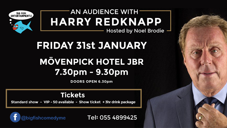 An Audience with Harry Redknapp on Jan 31st at Mövenpick Hotel Jumeirah Beach Dubai