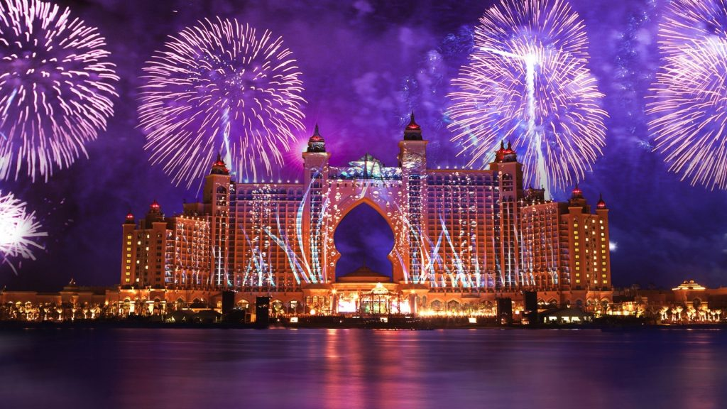 New Year Fireworks 2019 – Atlantis, Palm Jumeirah, Dubai, United Arab Emirates.