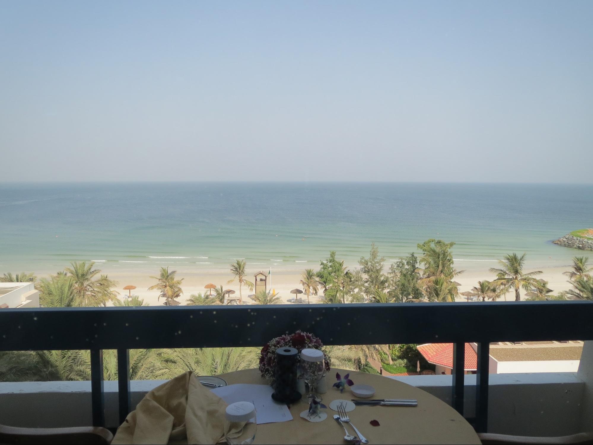 Kempinski Hotel, Ajman Review - Balcony DineTable