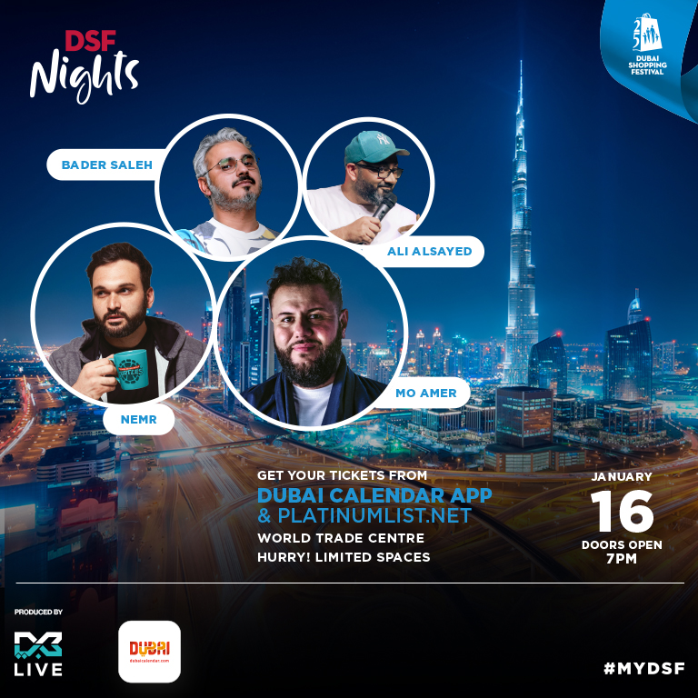 DSF Comedy Nights on Jan 16th at Dubai World Trade Centre