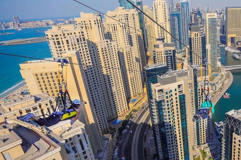 XLine Dubai Marina – World's Longest Urban Zipline – Tourist Attractions in Dubai, UAE