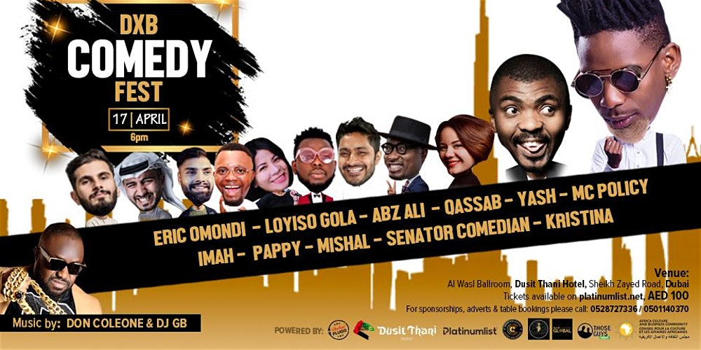 DXB Comedy Fest on Apr 17th at Dusit Thani Dubai