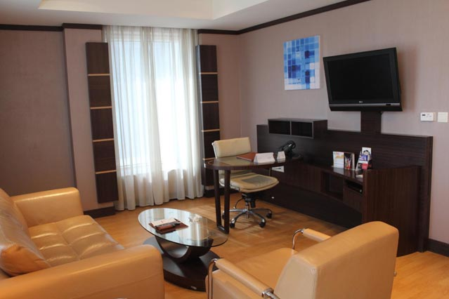 Emirates Grand Hotel Dubai UAE Review - Living area with office table to work
