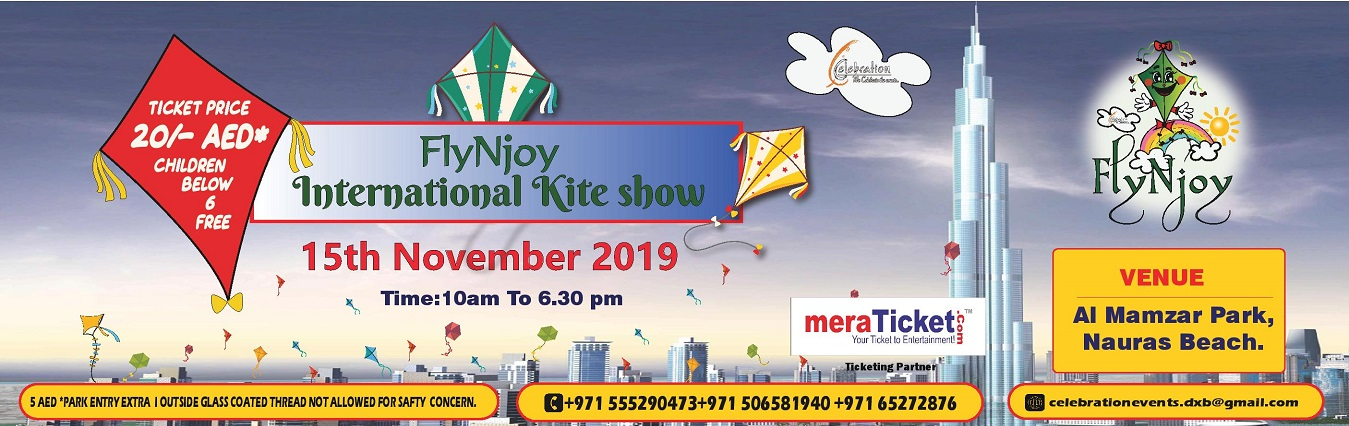 Fly N Joy International Kite Show 2019 on Nov 18th at Al Mamzar Park Nouras Beach Dubai