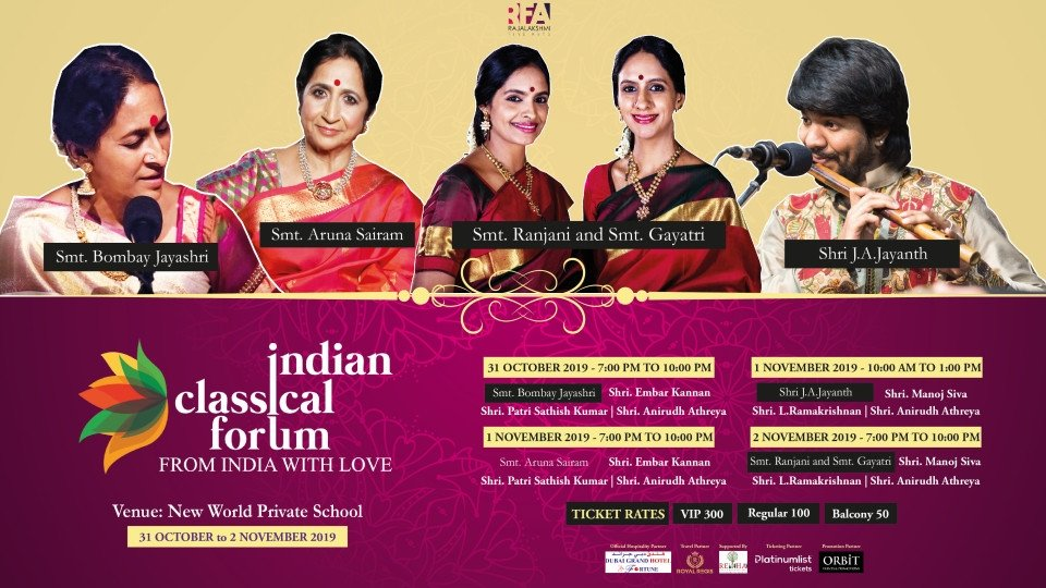 Indian Classical Forum on Oct 31st – 2nd Nov at New World Private School