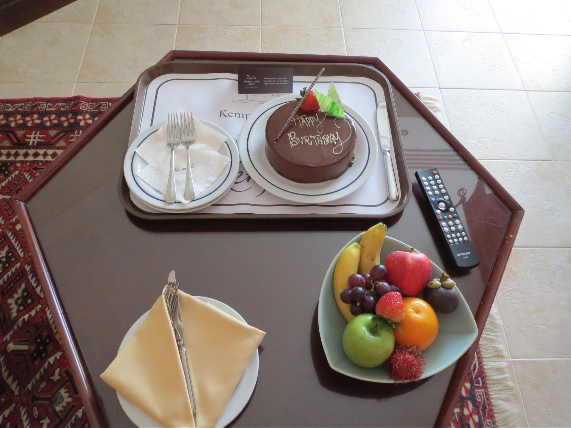 Kempinski Hotel, Ajman Review - Special Birthday Surprise Chocolate Cake