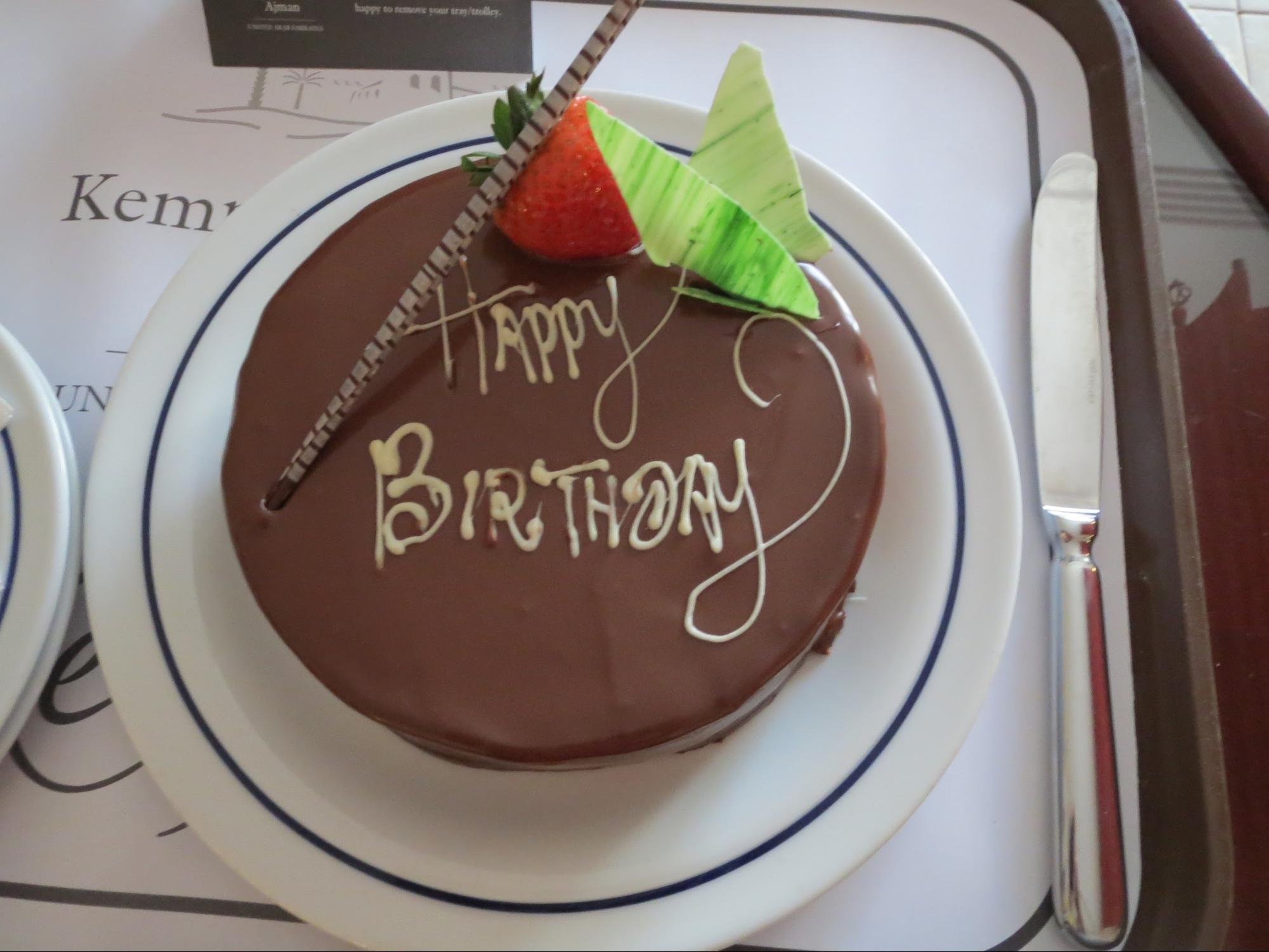 Kempinski Hotel, Ajman Review - Birthday Surprise Chocolate Cake