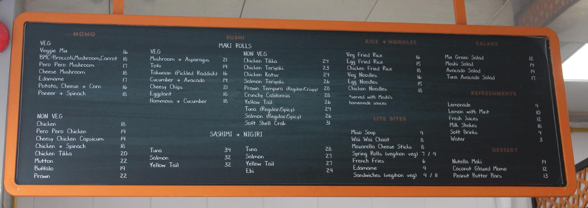 Moshi restaurant Dubai Menu Board
