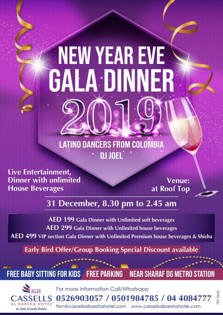 New Year's Eve Gala Dinner 2019 at Cassells Al Barsha Hotel