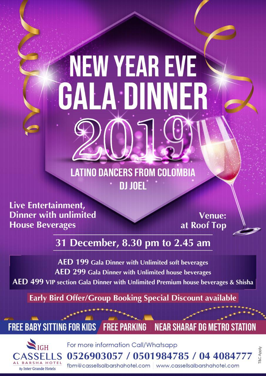 New Year's Eve Gala Dinner 2019 At Cassells Al Barsha Hotel, Dubai, United Arab Emirates