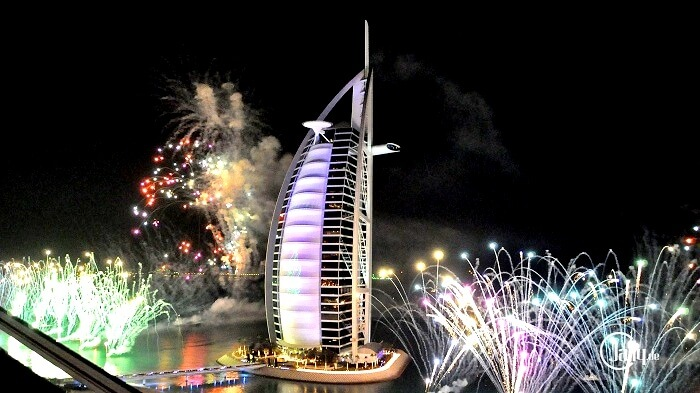 New Year Fireworks 2019 – Burj Al Arab Fireworks, Dubai, United Arab Emirates.