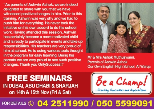 Only Success learning technologies – Be a champ seminar Dubai