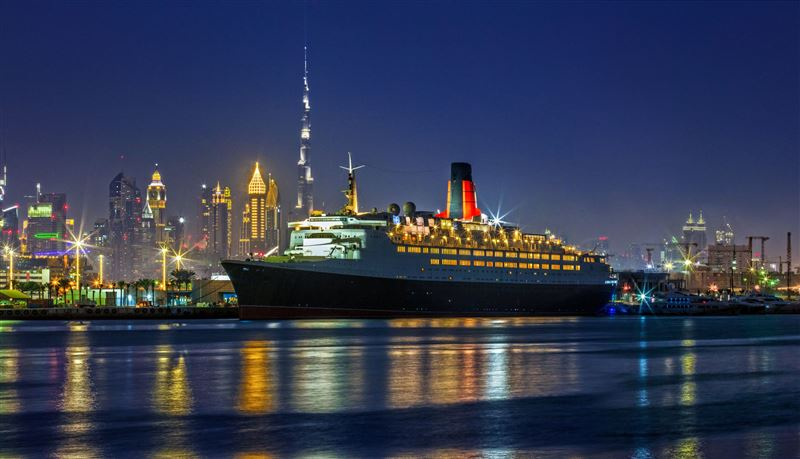 Queen Elizabeth 2 ship is now a floating hotel in Dubai