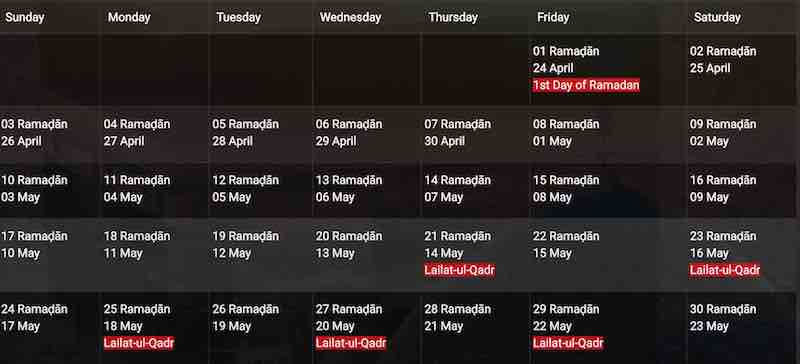 2020 Ramadan Calendar Ramadan 2020 Dubai   start on 24th of April to 23rd of May 2020