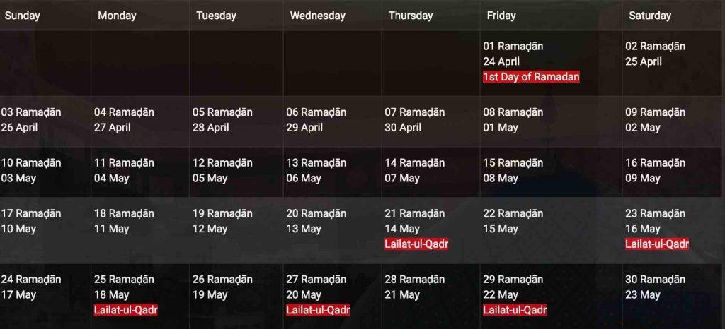 Ramadan 2020 Dubai prayer times