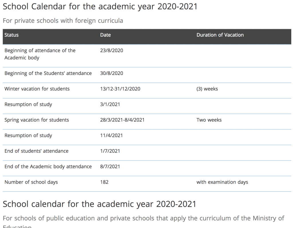 School Calendar For The Academic Year 2019-2020 Private School