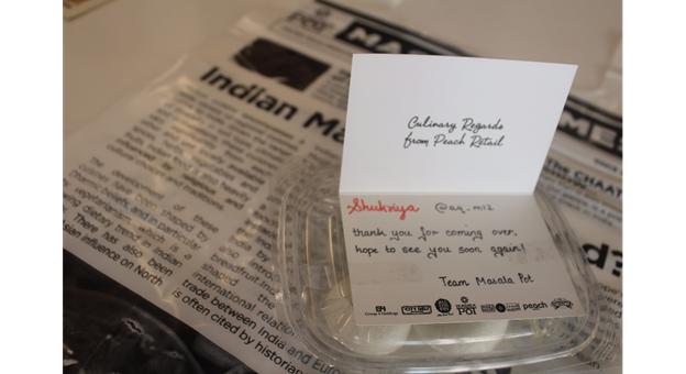 Thank you token for visiting - Cute hand written card and a sweet rasgullah - Masala Pot Restaurant Review